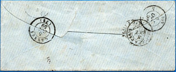 1859 Poste Federali – 40 r. verde su busta