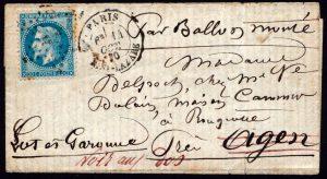 1870 Ballon Montè - certificato Toselli