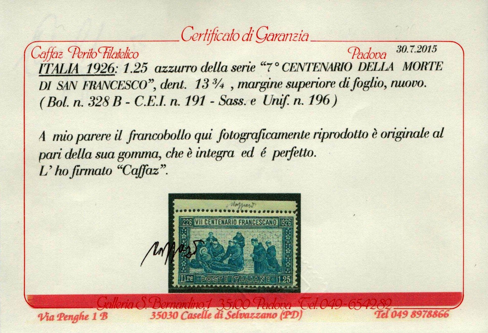 1926 San Francesco cert.Caffaz