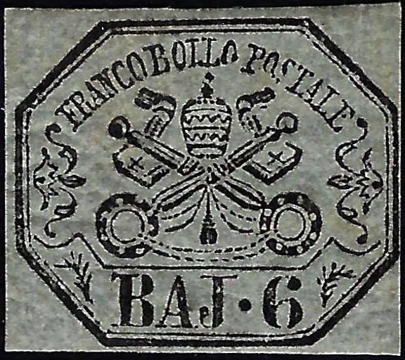 1852 Pontificio 6 Baj MH - Caffaz