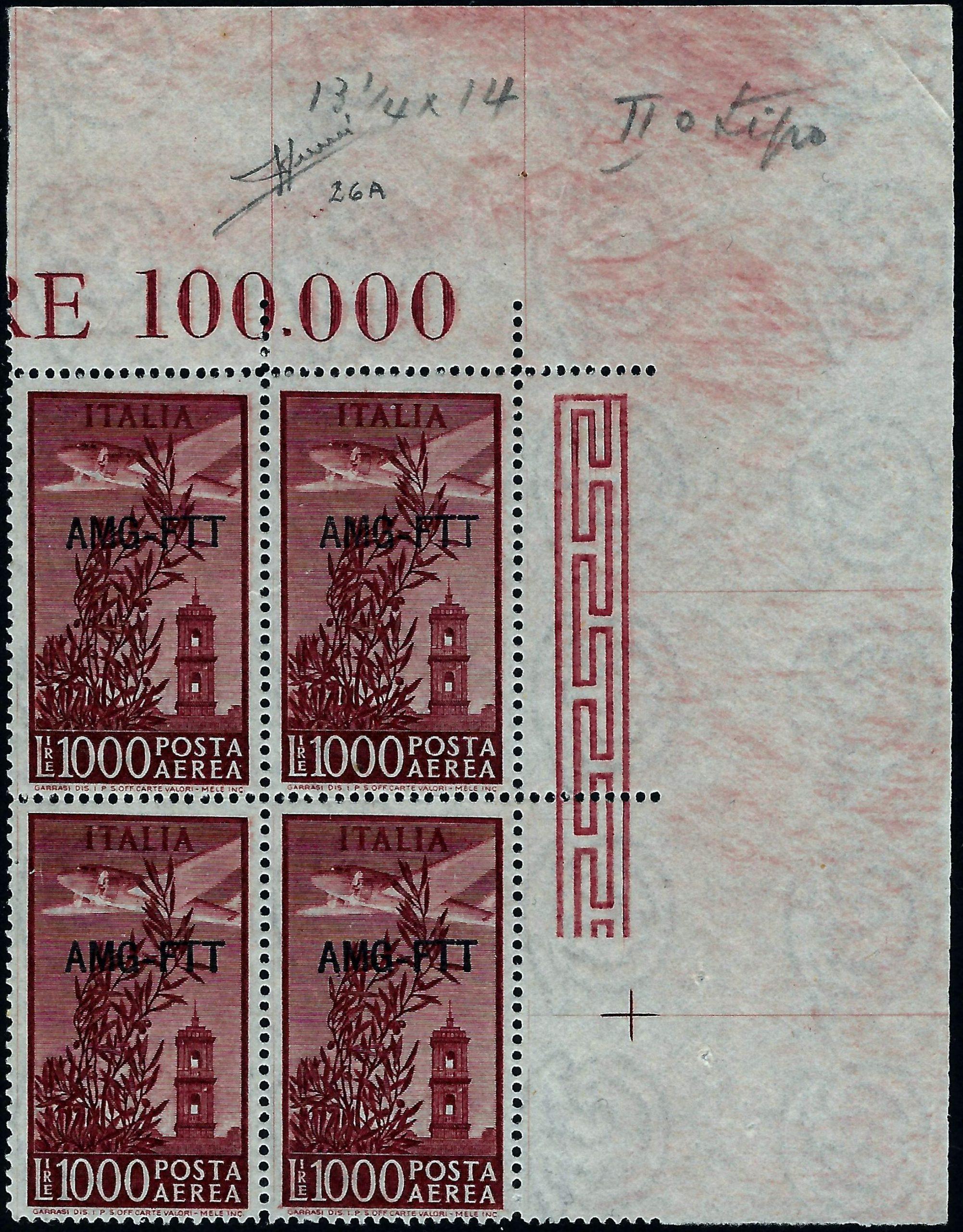 1952 Trieste A Lire 1000 Certificato Sorani