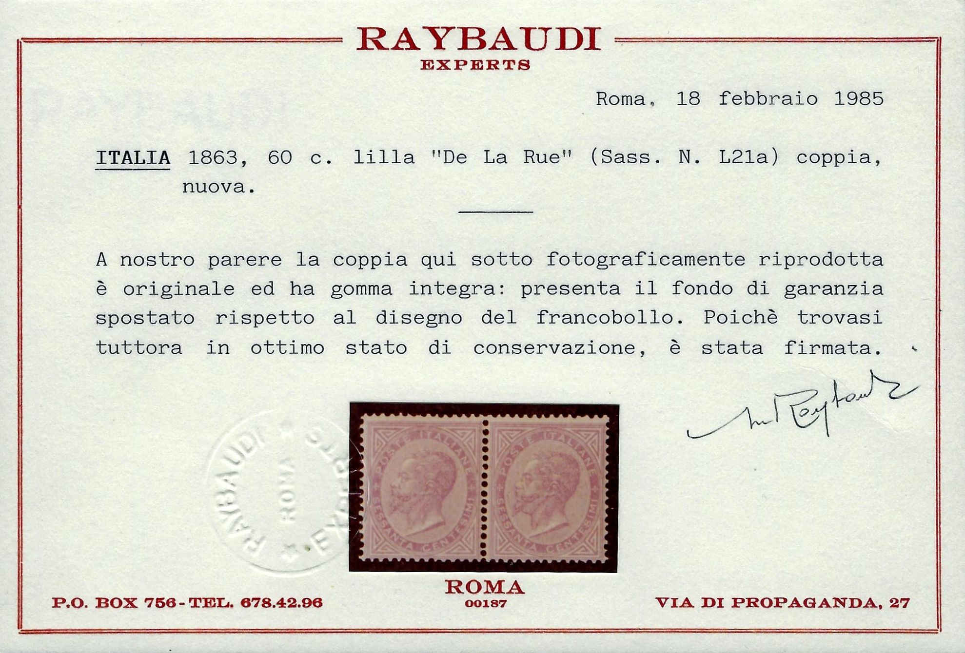 1862 cent.60 DLR - MNH - Raybaudi