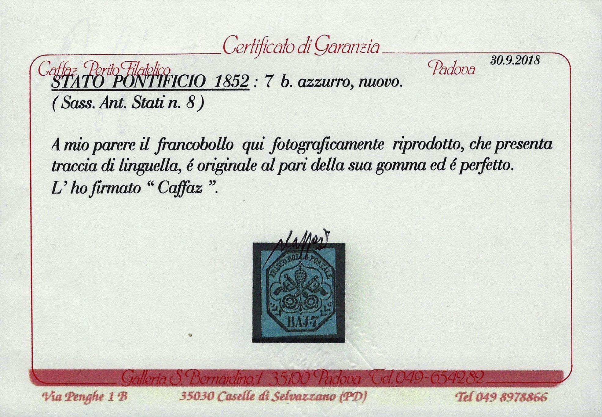 1852 Pontificio 7 Bay MH Caffaz