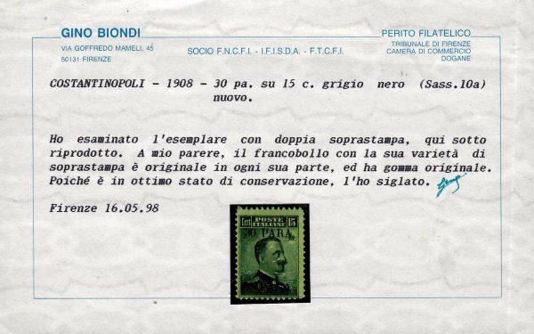 1908 Costantinopoli n.10a Certificato Biondi