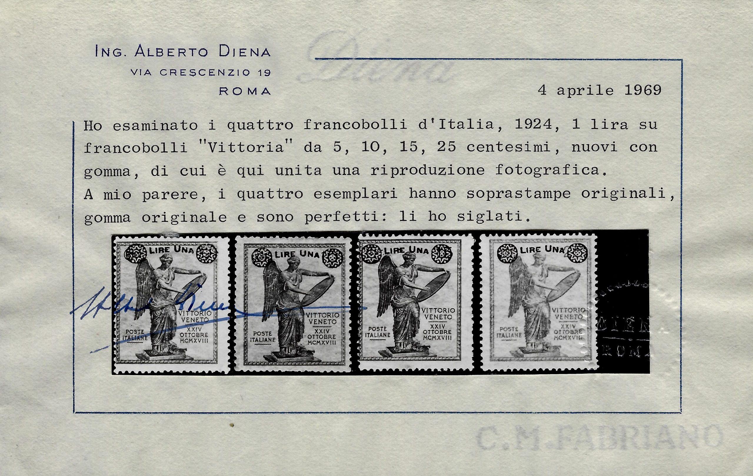1924 Vittoria soprastampata MNH Diena