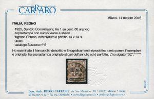 1925 Servizio Commissioni Certificato Carraro