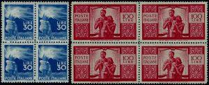 1945/48 Democratica in quartine MNH - certificato Sorani