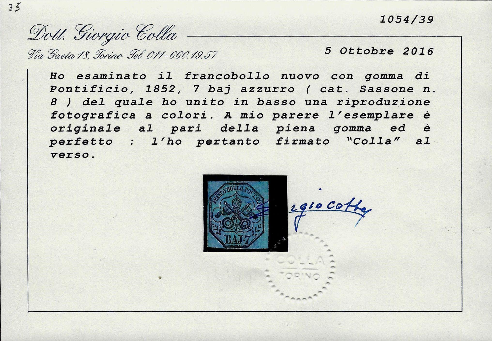 Pontificio 1852 7 Baj MH Certificato Coll