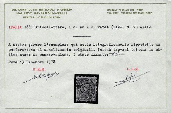 1887 Francalettere n.2 Certificato