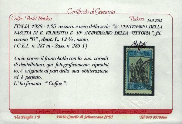 1928 Emanuele Filiberto Certificato Caffaz