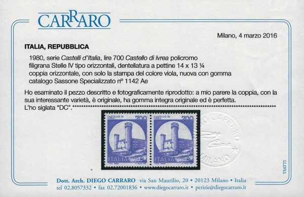 1980 Ivrea Viola - MNH - Certificato Carraro