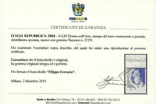 2004 Varietà certificato Ferrario