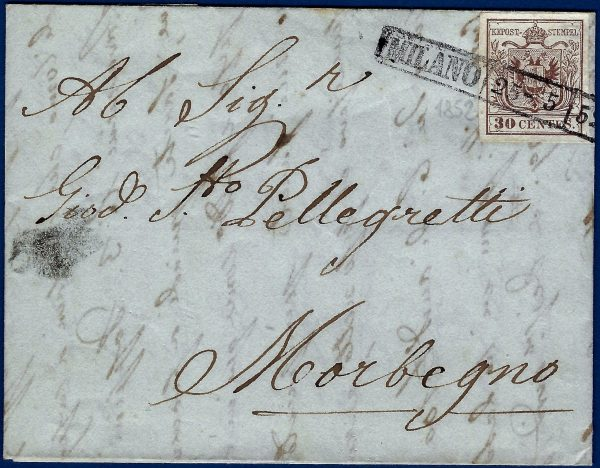 1852 -Lombardo Veneto lettera