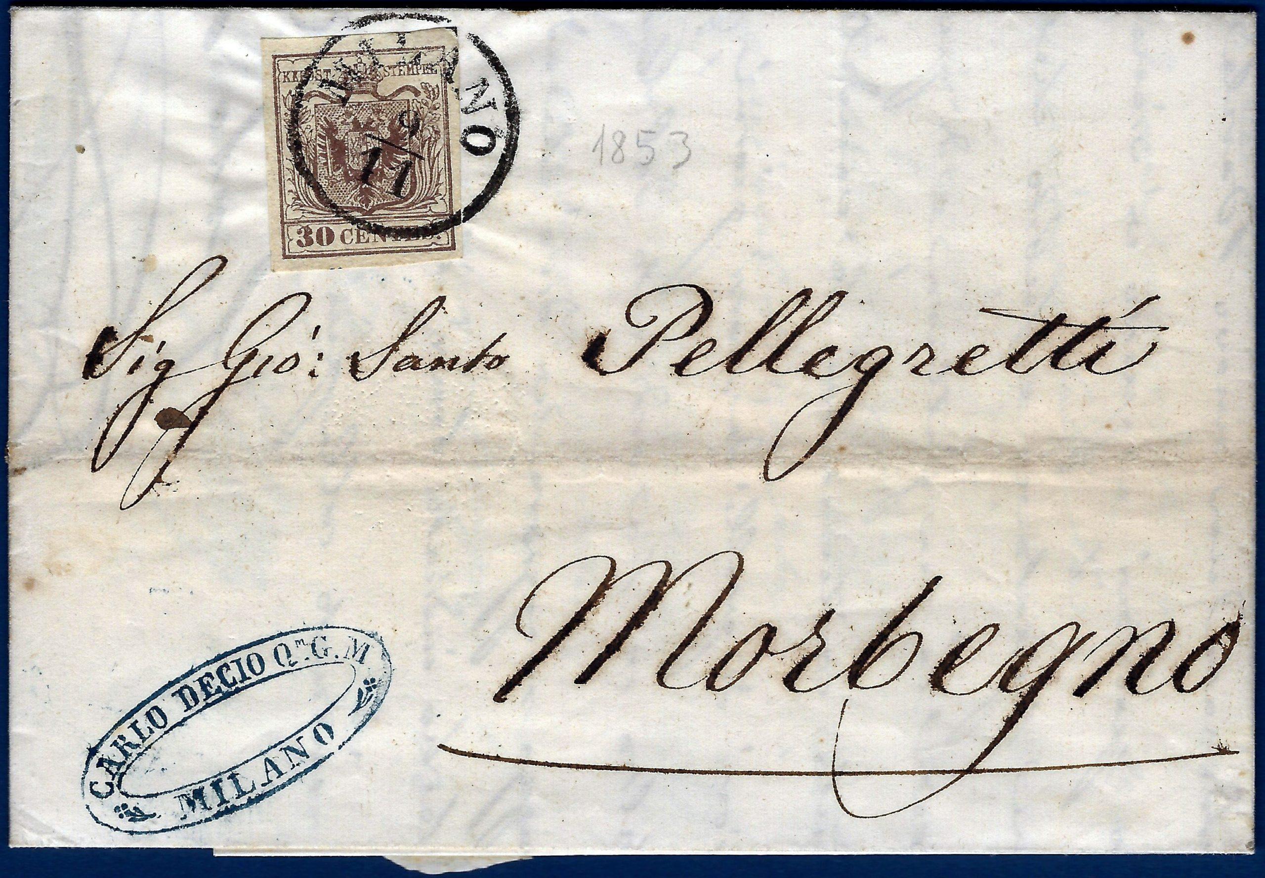 1853 -Lombardo Veneto lettera