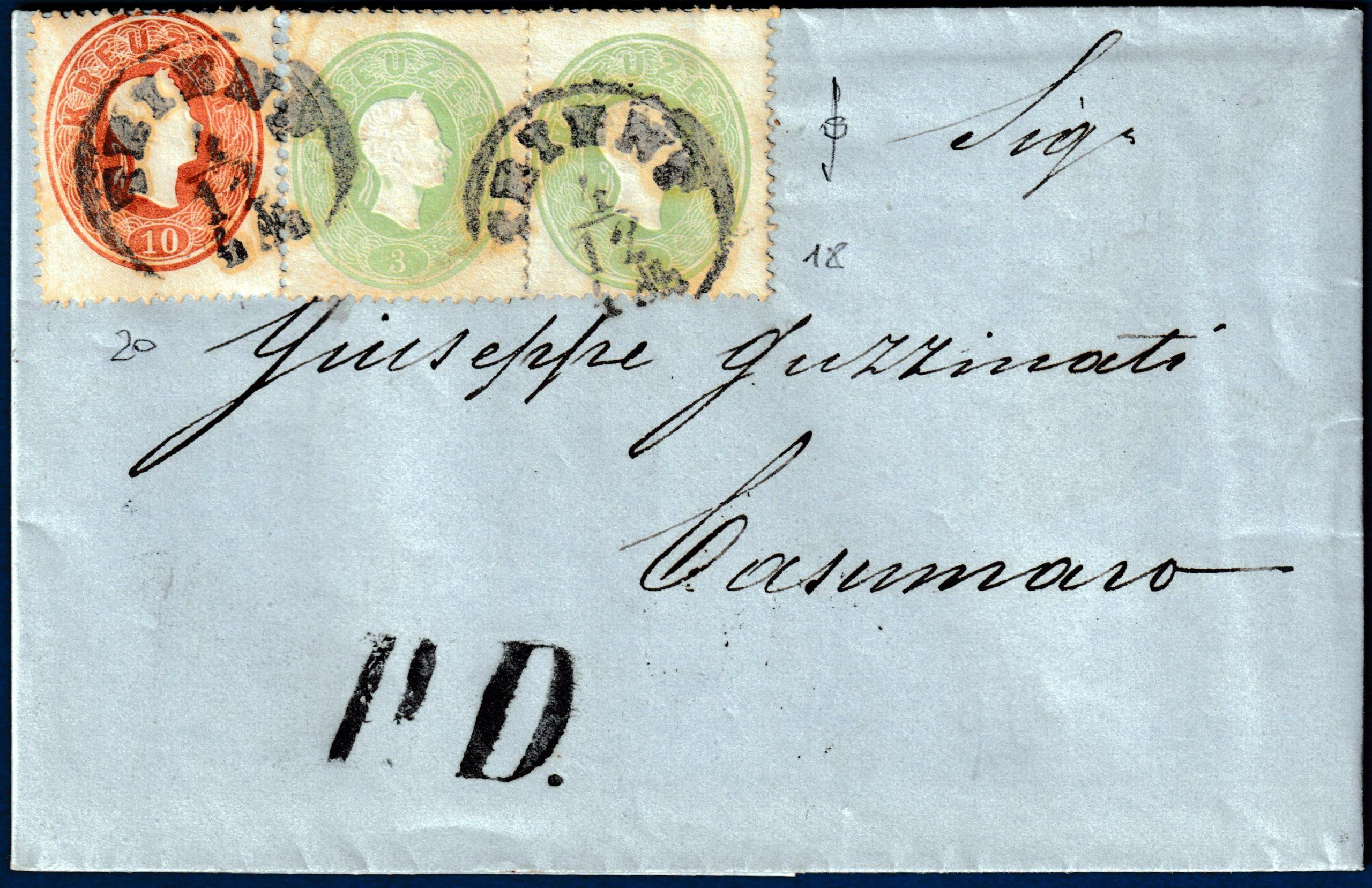 Austria - 1862 - Affrancatura bicolore