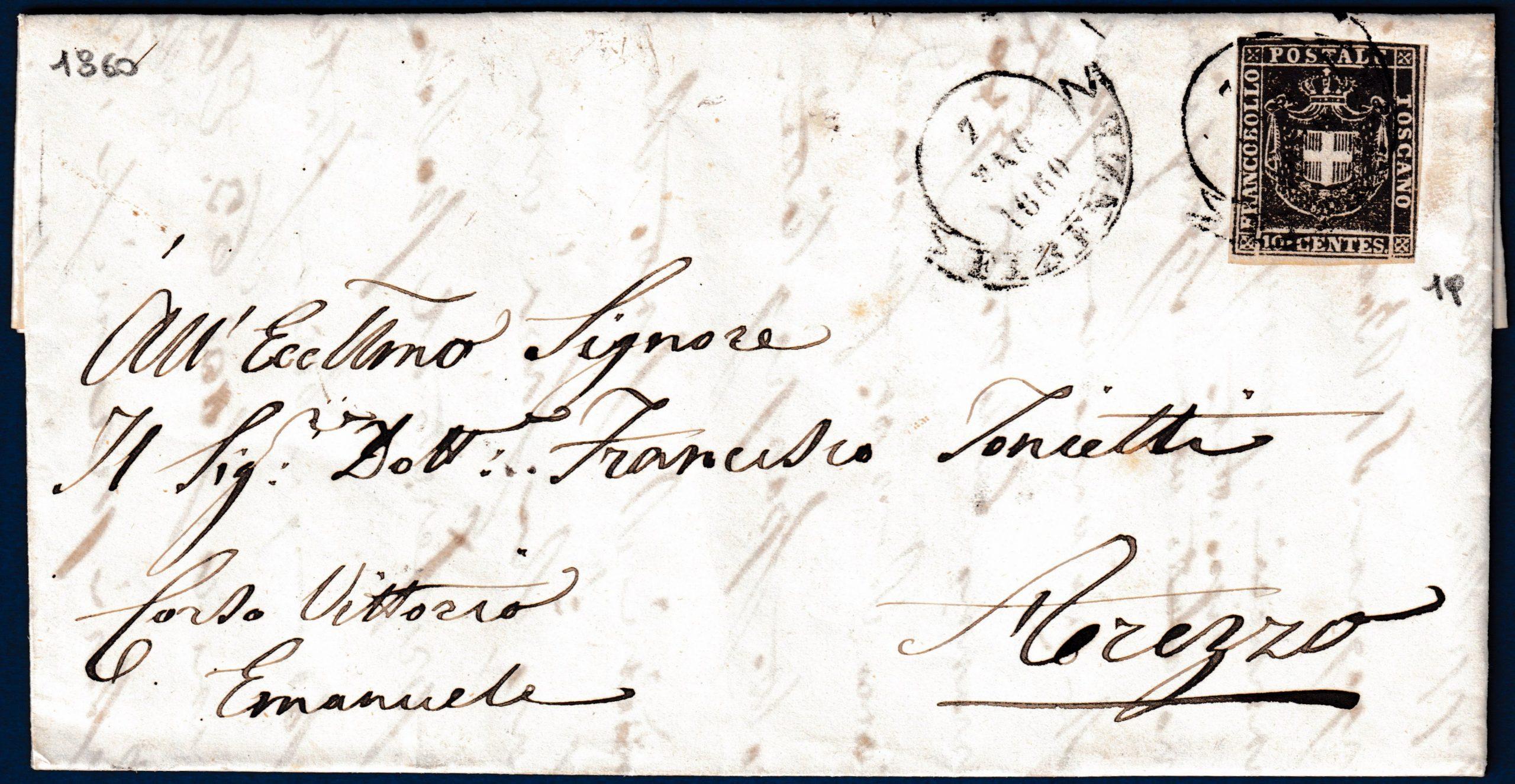 1860 - Toscana - Lettera resa franca con cent.10