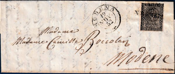1852 - Lettera da Parma resa franca con cent.15 (n.3)
