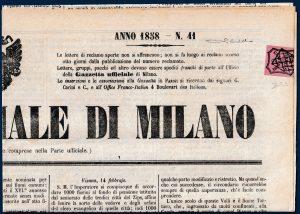 1858 - Parma - 6 cent. su giornale