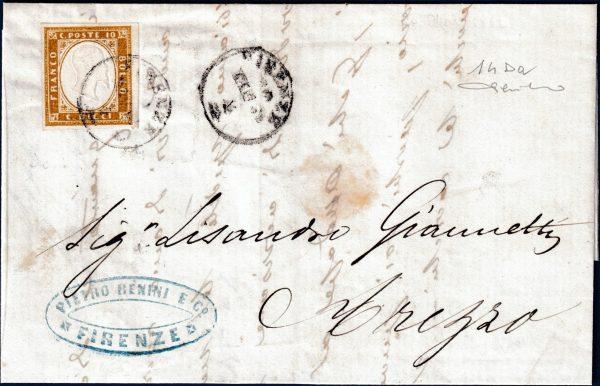 1862 - Lettera resa franca con 10 cent. (n.14Da)
