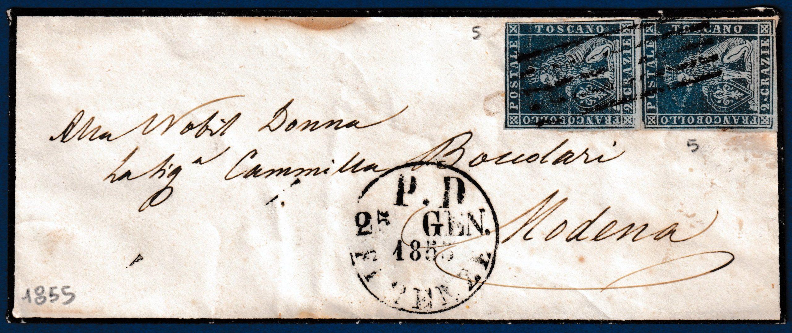 1855 - Toscana - lettera con affrancatura multipla