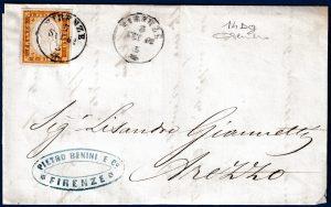1862 - Lettera resa franca con 10 cent. arancio brunastro (n.14Dg)