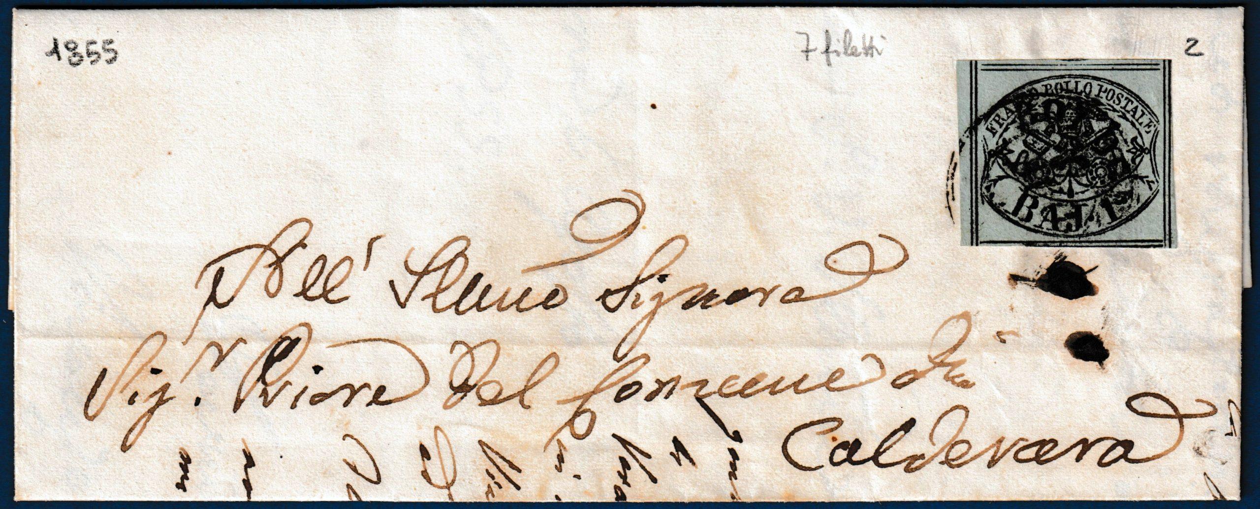1855 - Pontificio lettera affrancata