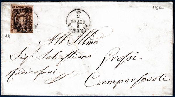 1860 - Toscana - Lettera con cent.10