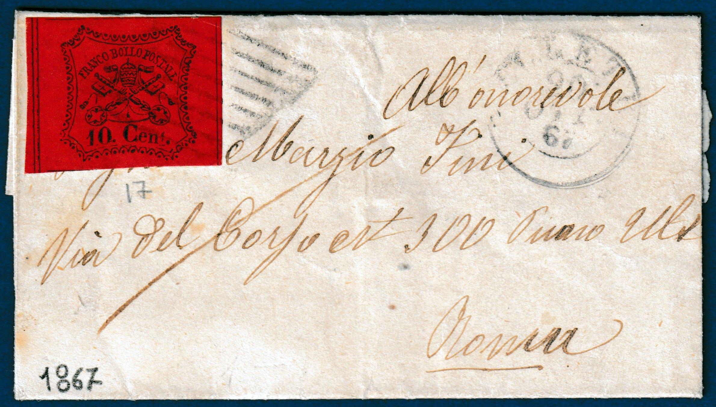 1867 - Lettera Stato Pontificio
