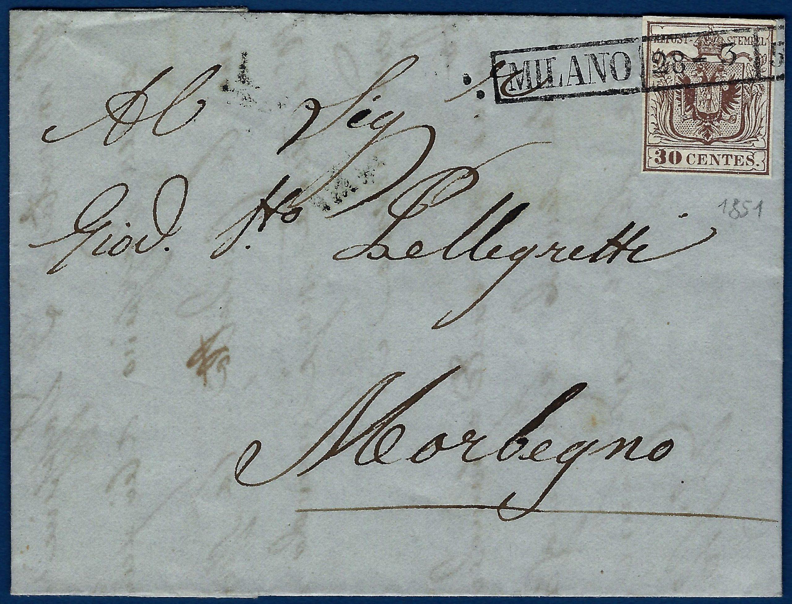 1851 - Lettera Lombardo Veneto