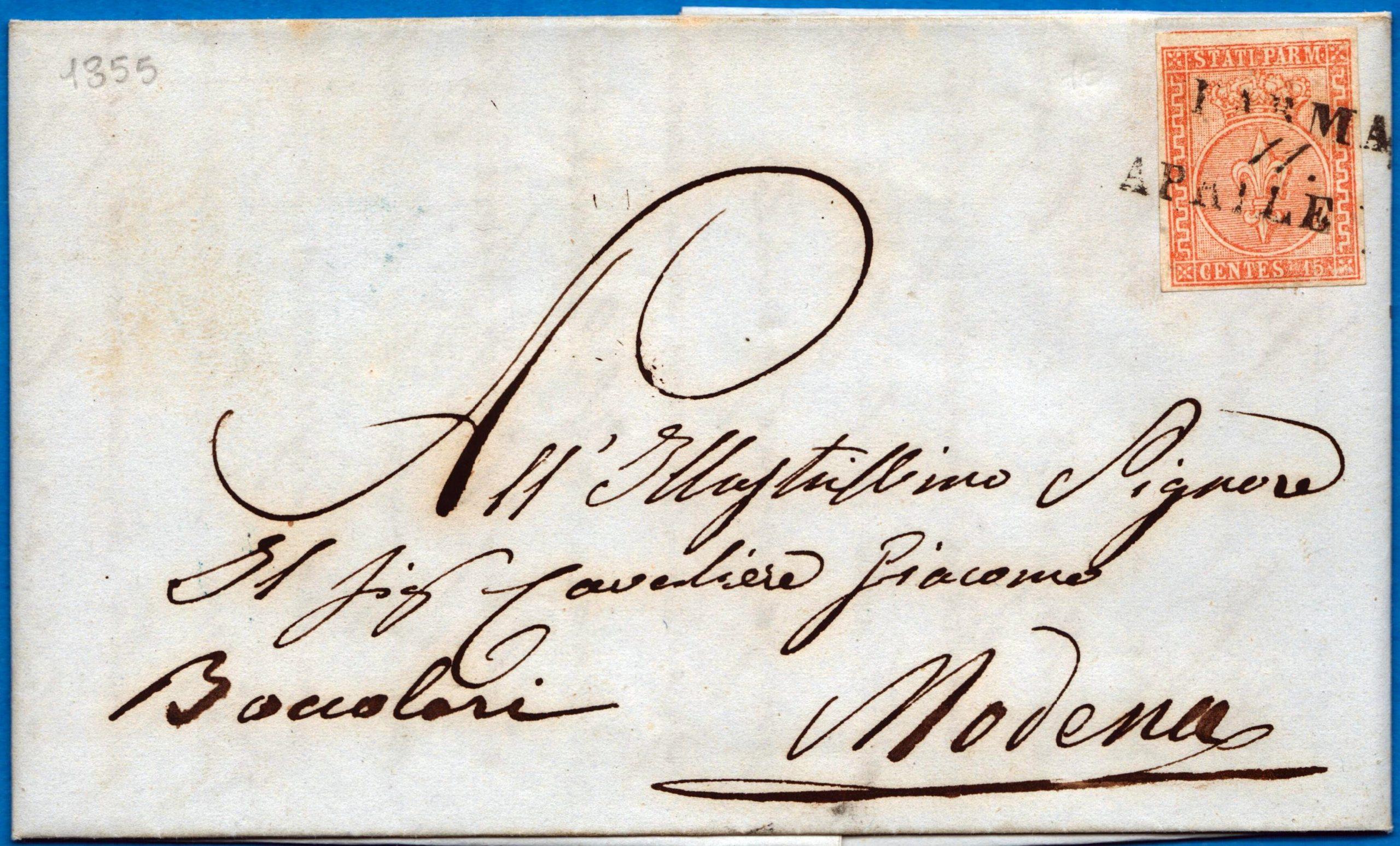 1855 - Lettera da Parma resa franca con cent.15 vermiglio (n.7)