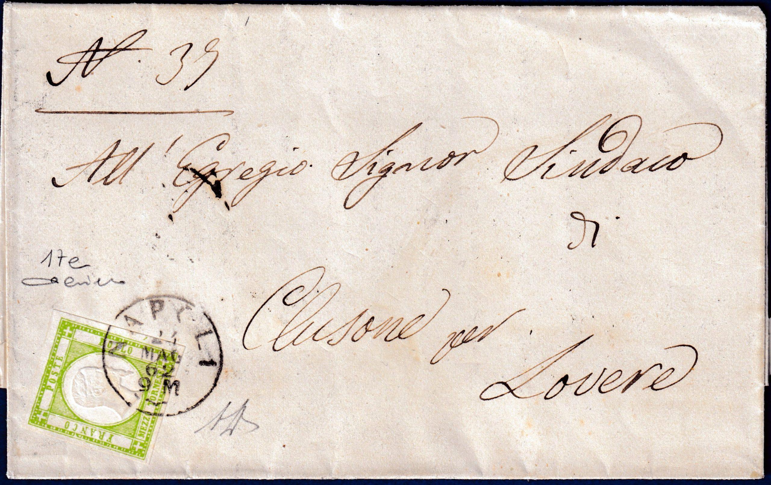 1862 - Lettera da Napoli resa franca con 1/2 tornese (n.17e)