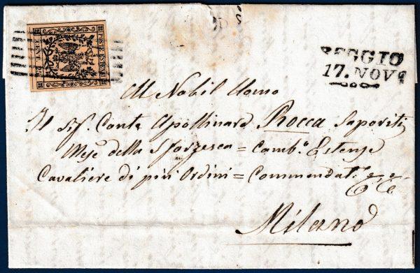 1854 - Modena - Lettera con cent.25 (n.4)