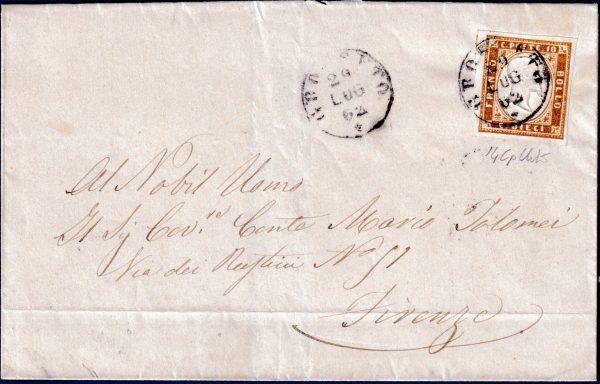 1862 - Lettera resa franca con 10 cent.bruno (n.14Cp)