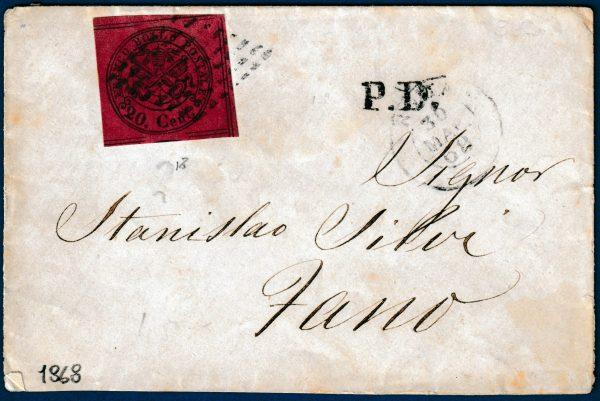 1867 - Pontificio - Lettera con cent.20 (n.18)