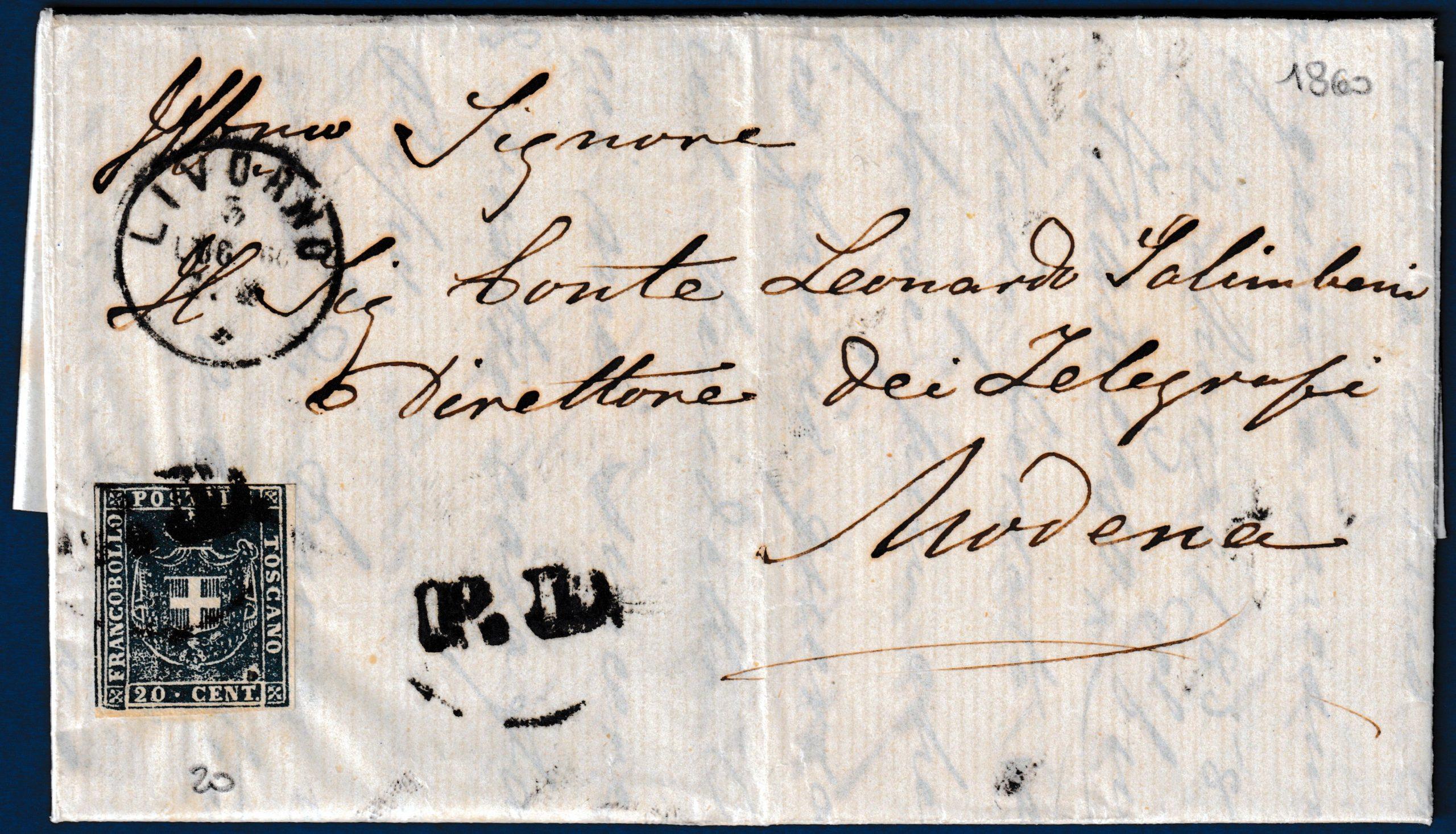 1860 - Toscana - Lettera resa franca con cent.20 n.20