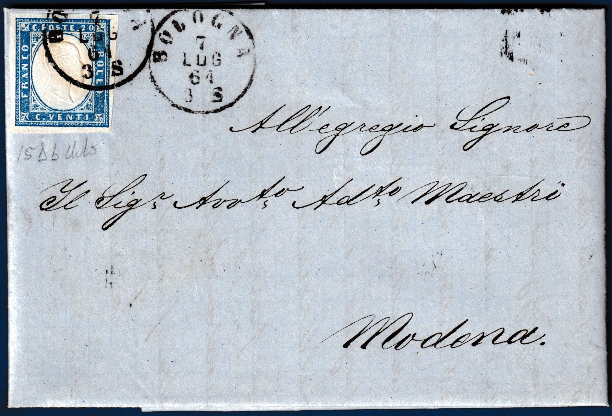 1861 - Lettera da Bologna con cent.20 n.15Db