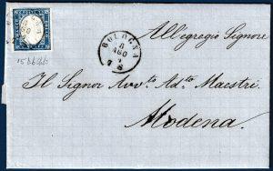 1861 - Lettera resa franca con cent.20 (15Db)