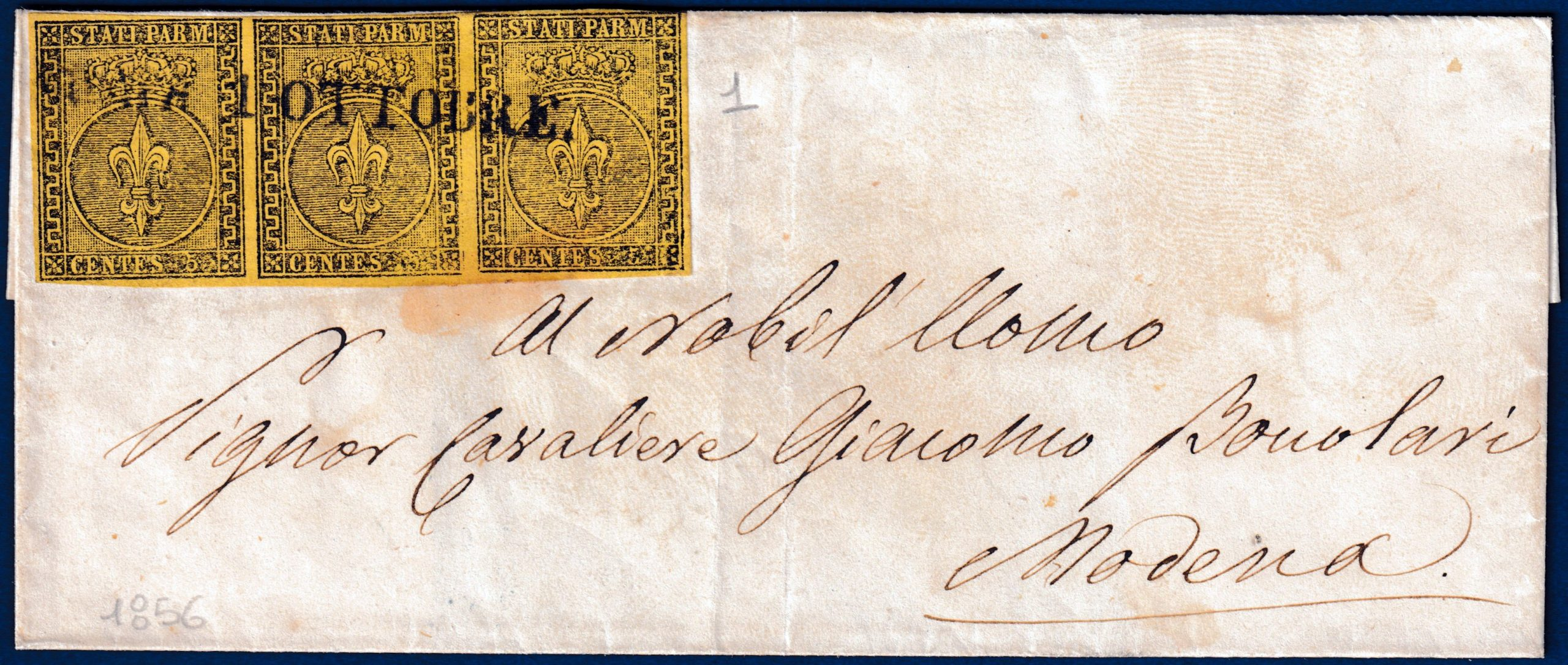 1856 - Letteraa da Parma con striscia di 3 da cent.5 (n.1)