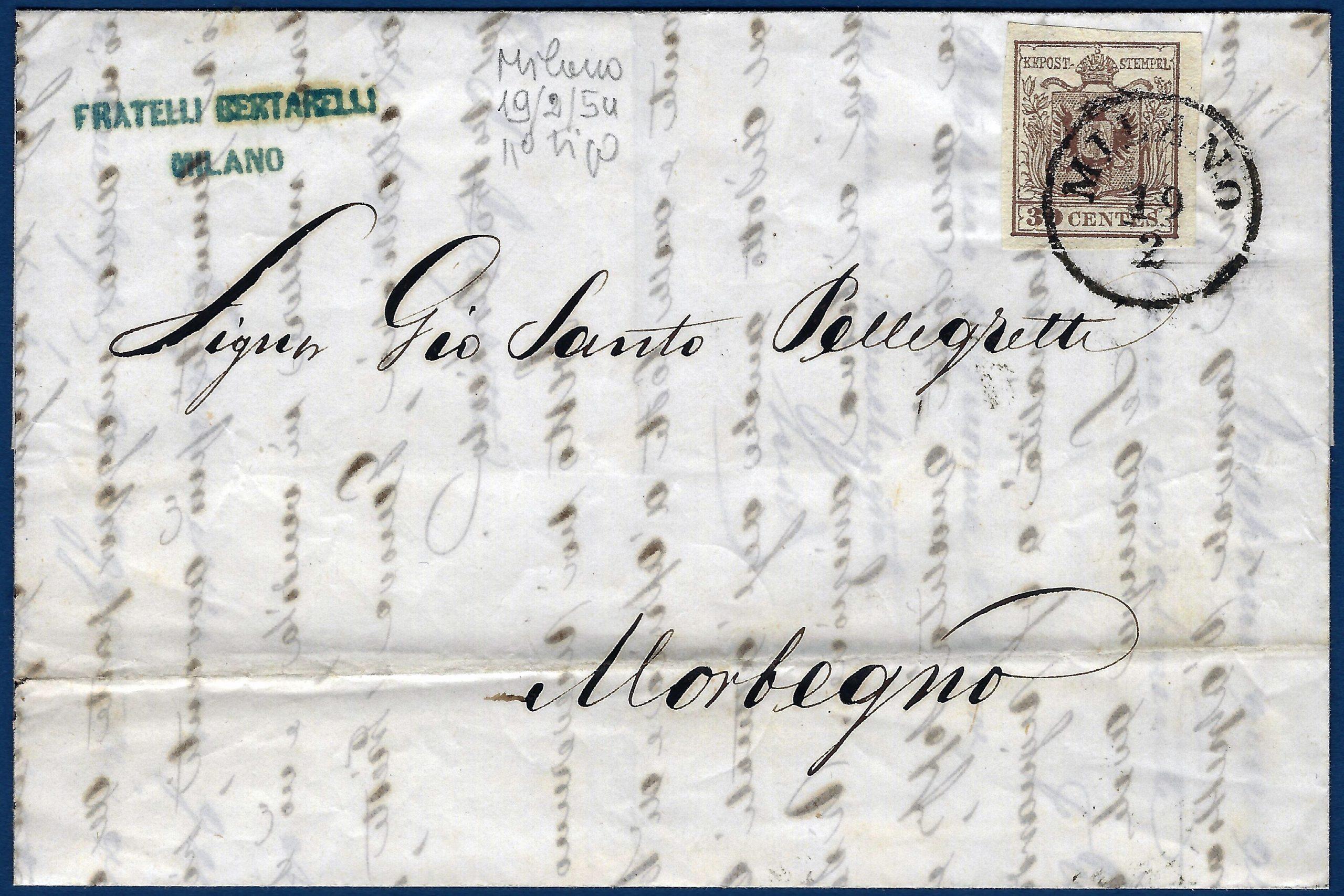 1854 - Lettera Regno Lombardo Veneto