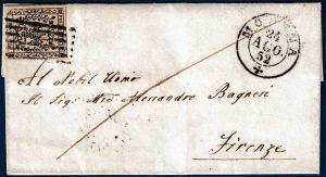 1852 - Modena - Lettera con cent.25 (n.4)