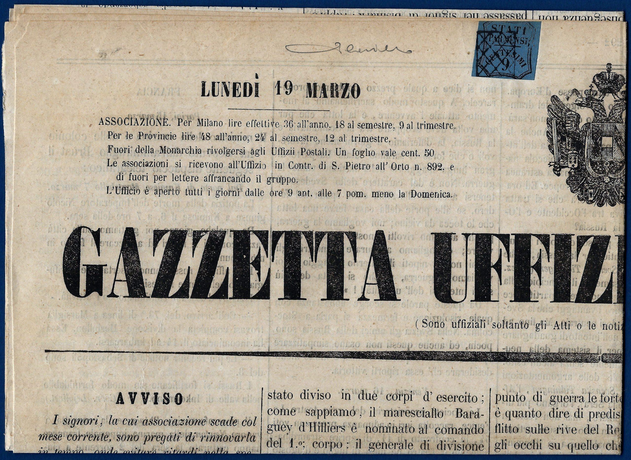 1855 - Ducato di Parma - 9 c. su giornale