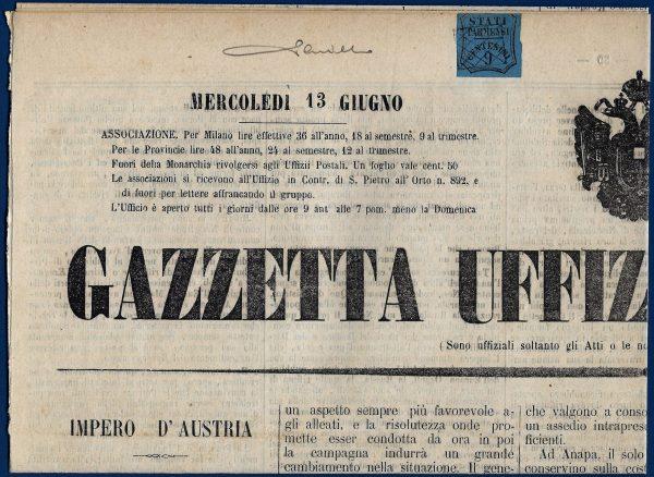 1855 - Ducato di Parma 9 cent. su giornale