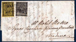 1853 - Parma - Affrancatura bicolore