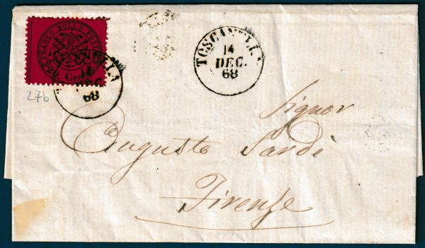 1868 - Pontificio - Lettera con cent.20 n.27b