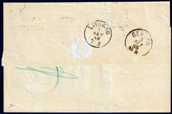 1869 - Pontificio - Lettera con cent.20 n.28a - Diena