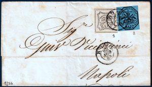 1855 - pontificio - affrancatura bicolore