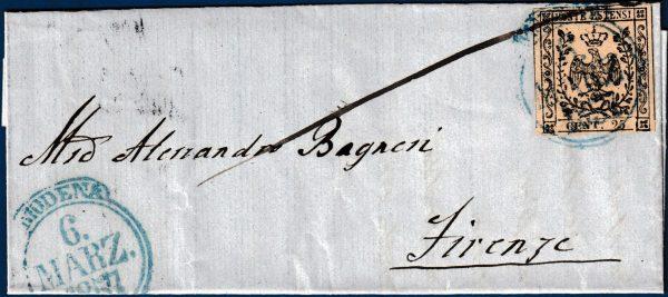1857 - Lettera da Modena con cent.25 camoscio