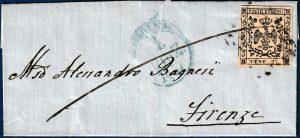 1857 - Modena - Lettera affrancata