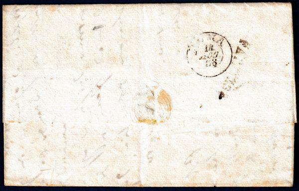 1858 - Pontificio Lettera con aff. multipla