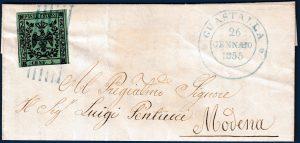 1855 - Modena - Lettera resa franca con cent.5 (n.7)